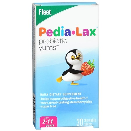 Fleet Pedia-Lax Probiotic Yums, Strawberry Flavor, 30 Chewable Tablets, Pack of 5