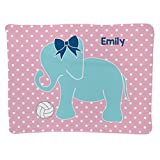 Personalized Volleyball Baby & Infant Blanket | Elephant with Name | Light Pink