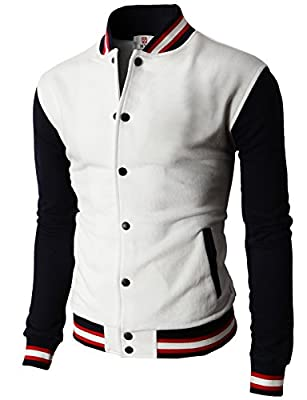 H2H Mens Slim Fit Varsity Baseball Bomber Cotton Lightweight Premium Jacket