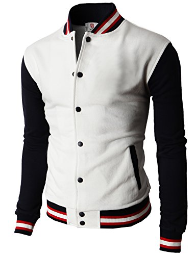 H2H Mens Slim Fit Varsity Baseball Bomber Cotton Lightweight Premium Jacket  Cmoja082-white XXX-Large ()