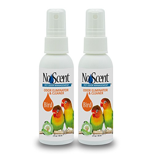 No Scent Bird - Professional Pet Poop Cleaner & Odor Eliminator - Safe All Natural Probiotic & Enzyme Formula Smell Remover Cages Aviary Perches Nests Toys Bedding (2 oz x 2)