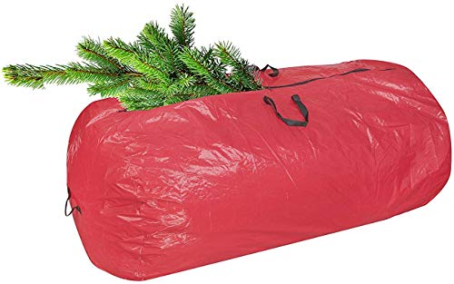 Christmas Tree Storage Bag Red with Durable Reinforced Carry Handles & Sleek Dual Zipper   Stores up to 7 Ft Tall Disassembled Artificial Trees, Great Storage for Holiday Accessories and Decorations
