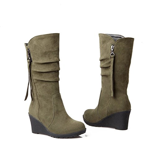 High Heel Army Boots (Inornever Wedges Knee High Boots Women Faux Suede Pull On Round Toe Winter Wide Mid Calf High Heel Boots Army Green 7.5 B (M) US)