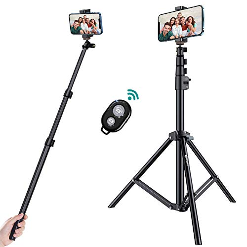[Compatible with All Smart Phones]VICSEED 67″ iPhone Tripod with Remote Shutter, Extendable iPhone Tripod Stand&Selfie Stick Tripod,Aviation Aluminum Lightweight Tripod for iPhone/Android/Camera/GoPro