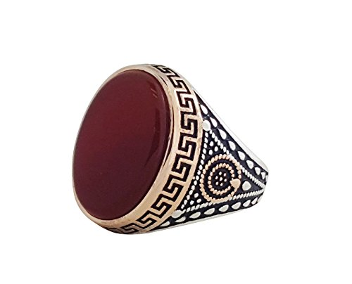 925 SOLID STERLING SILVER RING WITH RED AGATE IN DIFFERENT SIZES