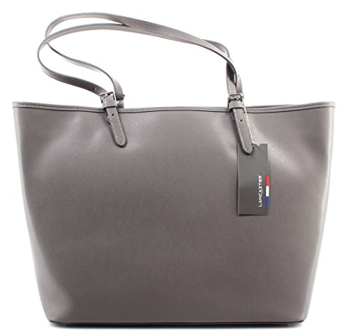 Borsa Donna Spalla LANCASTER Paris Gris Chaud Cuir De Vachette Cow Leather Nuova