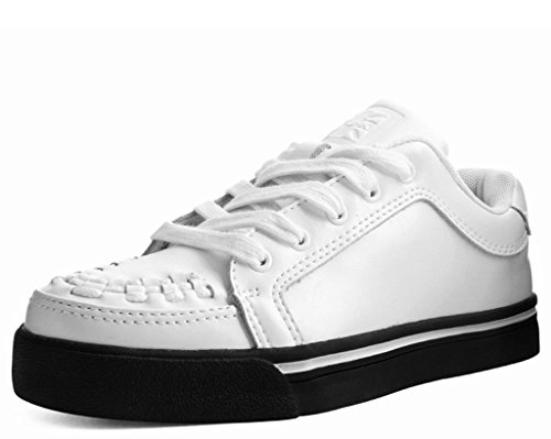 T.U.K. Shoes A9382 Unisex-Adult Sneakers, White Trainer & Black Sole Sneaker - US: Mens 5 / Womens 7