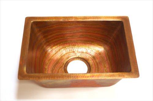 Rectangular Copper Bar Sink, 17 x 12 x 7 Inches, Mendocino, Finish Fuego