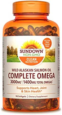 Sundown Naturals Complete Omega Wild Alaskan Salmon Oil Softgel, 1400 mg, 90 Softgels (Packaging May Vary)