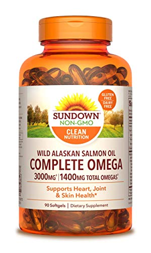 Sundown Naturals Complete Omega Wild Alaskan Salmon Oil Softgel, 1400 mg, 90 Softgels (Packaging May Vary)