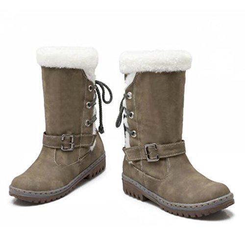 Q Q Talla Talla Talla C Hembra Botas amp;Q Señoras Grande cinturón de Zapatos Manga Tiras Nieve cruzadas Botas Hebilla del EgrE1nxq