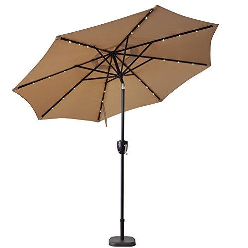 (Sun-Ray 811040 9' Round Bluetooth Speaker 8-Rib Solar Umbrella, 24 LED Lights, Crank and Tilt, Aluminum Frame, Taupe/Beige)