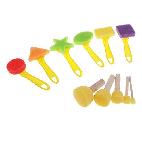 Perfk アート スポンジペイントブラシ おもちゃ 子ども プラスチック ローラー 絵画 約11個セット