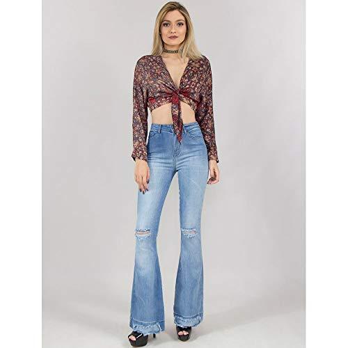 Calça Flare Jeans Com Desfiados Azul - 44
