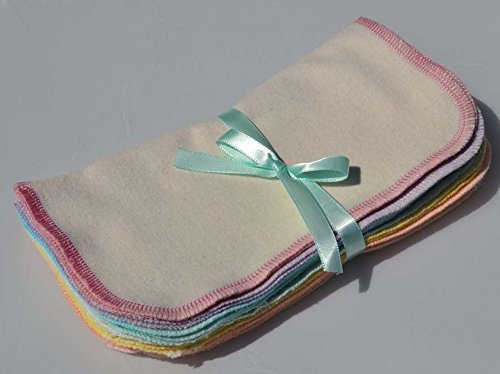 l Washable Baby Wipes -10 Pack - Little Wipes (R) - GOTS Certified Flannel - Sewn with Assorted Pastels ()