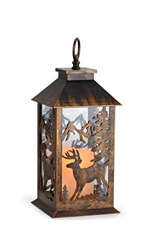 Reindeer Cutout LED Light-Up 14 inch Metal Lantern Christmas Decoration
