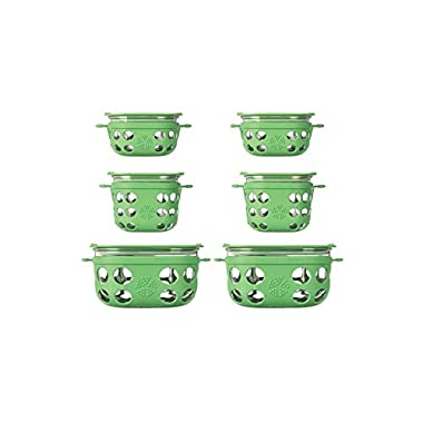 Lifefactory 6-Piece BPA-Free Glass Food Storage & Bakeware with Protective Silicone Sleeves & Lids, Grass Green