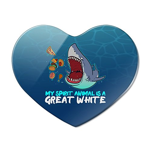 - My Spirit Animal is a Great White Shark Who'll Eat Anything Funny Heart Acrylic Fridge Refrigerator Magnet