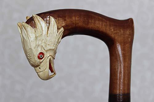 - Wooden handcarved cane American Eagle Carved handle Walking stick
