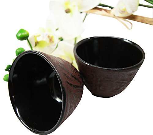 (Japanese Cast Iron Tea Cups Set of Two Bamboo Design Red Burgundy Color )
