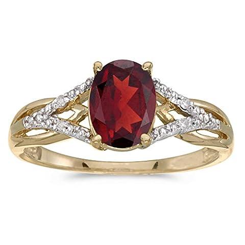 14k Yellow Gold Oval Garnet And Diamond Ring (Size 5.5) (Ring Garnet Gold)