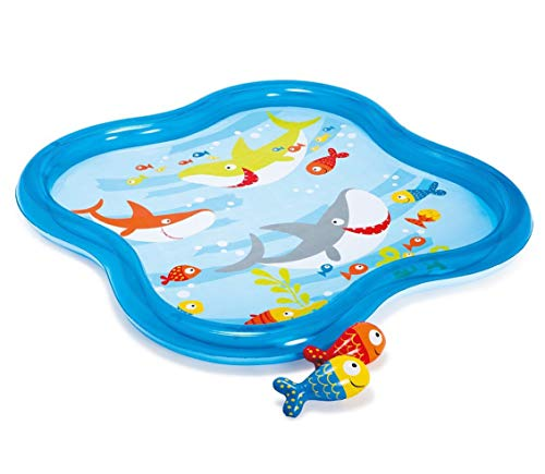 Intex Inflatable Square Fish Aquarium Baby Kiddie Spray Pool (55 in x 55 in x 4.5 -
