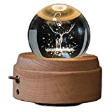 Wooden Music Box Night Light Luminous Rotating 3D Crystal Ball Musical Box Projection Light Wood Base Great Gift Christmas Birthday Valentine's Day Home Decor (2# Deer)