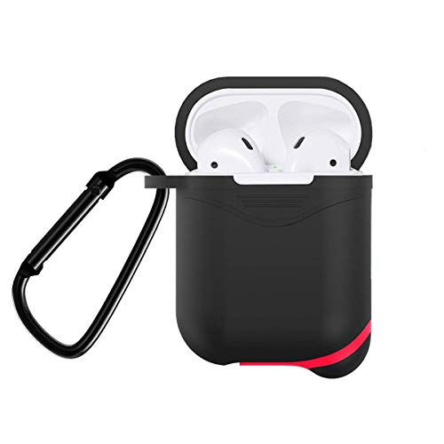 SinoZeal Protective Case Cover for Airpods, Snug Fit Shock Drop Proof Durable Silicone Skin Sleeve with Anti-Lost Carabiner Clip for Apple AirPods Charging Case, Headphone Accessories (Black)