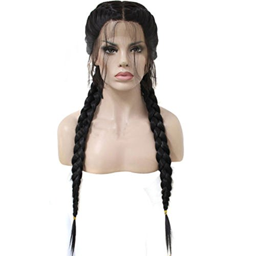 JJLIKER Women Black Long Fishtail Braid Double Ponytail Hair Braiding Front Lace Wigs Heat Resistant Replacement -