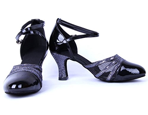 Ankle Leather Ballroom Women's Dance Salsa Strap Shoes UP Latin Black High Doris Heel Tango Buckle Samba C5qwc04