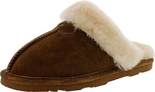 Bearpaw Women's Loki Hickory Low Top Sheepskin Slipper - 8M (Bearpaw Womens Slippers)