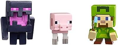 Mattel Minecraft Halloween Series Action Figure (3 Pack) - Steve with Hoodie, Skeleton Pig & Endereal