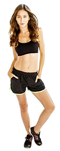 Alanic Stunning-Black Women's Running Shorts with Neon Green (Neon Green Piping)