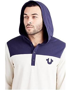 Men's Henley Football Hoodie Long Sleeve Sweatshirt in Birch/True Navy
