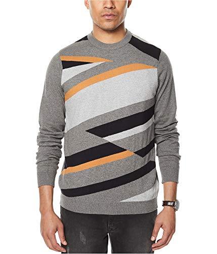 Sean John Mens Knit Colorblock Crewneck Sweater Gray L