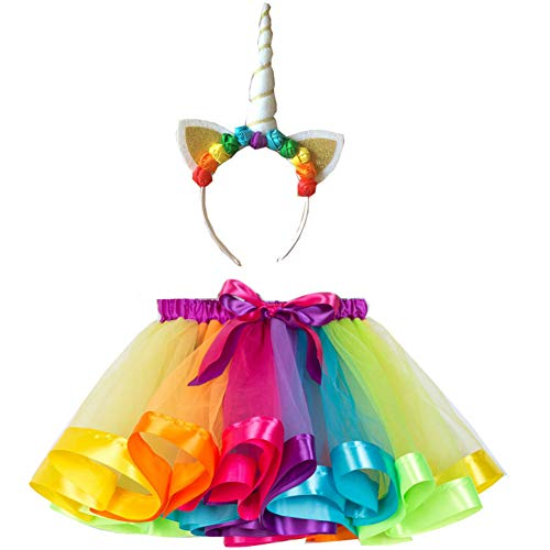 Rainbow Tutu Skirt for Girls Tutus Toddlers Birthday Princess Unicorn Costumes]()