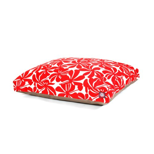 Majestic Pet Red Plantation Large Rectangle Indoor Outdoor Pet Dog Bed With Removable Washable Cover By Products by Majestic Pet