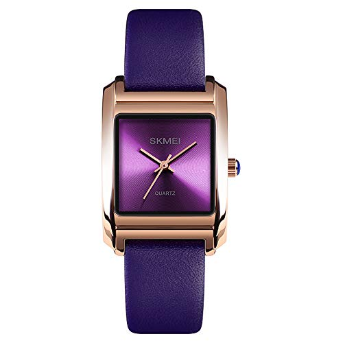 Women's Business Watch, Fashion Ladies Wrist Watch, Elegant Waterproof Quartz Analog Dress Watches with Leather Band Square Dial (Purple)