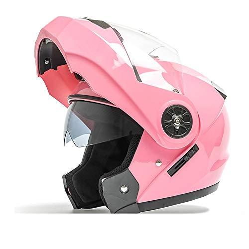 TOMSSL高品質 ダブルミラーオープンフェイスヘルメットメンズ四季ユニバーサルヘルメット電動バイクヘルメットフルカバーブルートゥースレディースフルフェイスヘルメット - ピンク TOMSSL高品質 (Size : M) Medium  B07SK59KV4