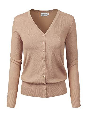 Design by Olivia Women's Classic Button Down Long Sleeve V-Neck Soft Knit Sweater Cardigan Khaki XL