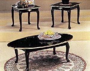 High Quality 3 Piece Black Finish Coffee Table U0026 End Table Set With Gold Trim