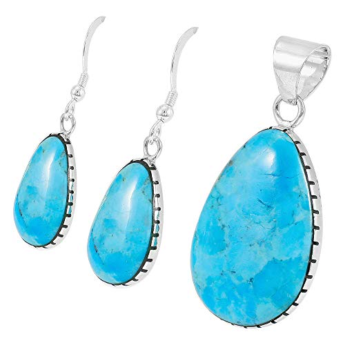 Sterling Silver with Genuine Turquoise Necklace & Earrings Set (SELECT COLOR) (Turquoise) by Turquoise Network (Image #2)'