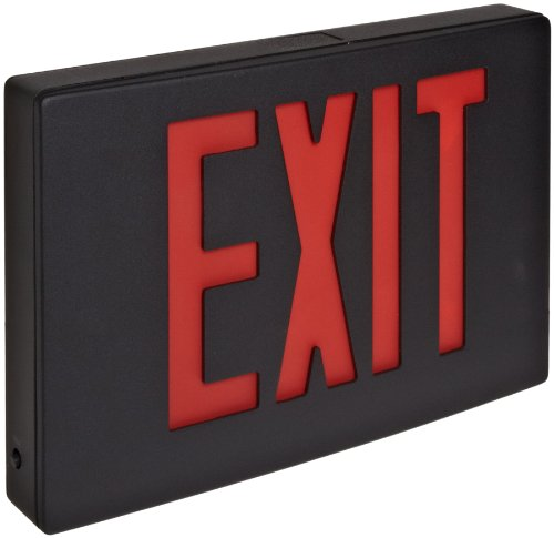 (Morris Products 73344 Cast Aluminum LED Exit Sign, Red Letter Color, Black Face Color, Black Housing Finish)