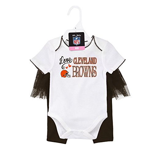 OuterStuff NFL Newborn Football Dancer Onesie and Tutu Legging Set, Cleveland Browns, White/Brown Suede, 3 (Cleveland Browns Football Baby Onesie)
