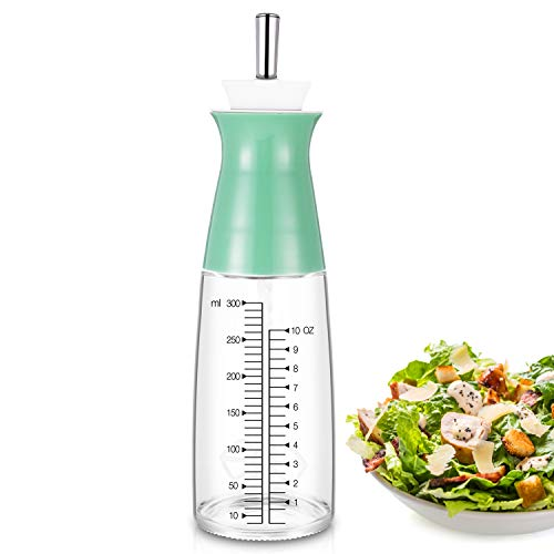 Salad Dressing Bottle Elegant Life Come with Mixer and Measure Marking BPA FREE Glass Salad Dressing Container (Green)