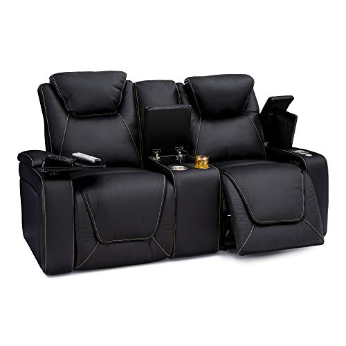 - Seatcraft Vienna Home Theater Seating Leather Sofa Loveseat Recline, Adjustable Headrest, Powered Lumbar Support, Center Storage Console, and Cup Holders, Black