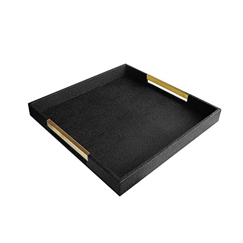 American Atelier 1630001 Black Square Tray with Gold Handles