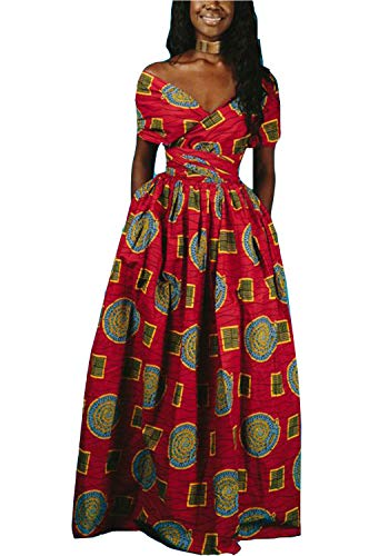 FEIYOUNG Women's Sexy Dashiki Floral Printed Side Slit Long Maxi Dresses Bohemian High Waist Vestidos (Medium, Floral Red) ()
