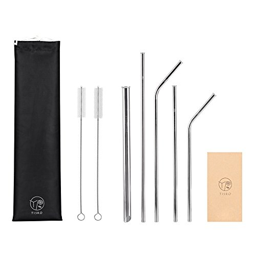 TISRO Reusable Straws, Set of 5 Metal Straws in Different Sizes, 3rd.Generation Anti-Scratch Stainless Steel Straws with Cleaning Brushes and...