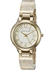 Anne Klein Womens AK/2380WTGB Easy To Read Gold-Tone and White Resin Bangle Watch